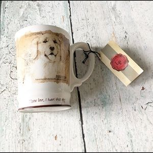 Other - Nwt love Dog coffee mug LP golden retriever beige